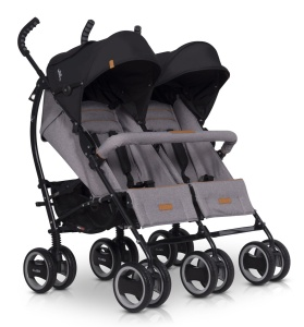 EASYGO WÓZEK SPACEROWY BLIŹNIACZY DUO COMFORT GREY FOX