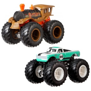 MATTEL HOT WHEELS MONSTER TRUCKS SAMOCHÓD POJAZD 2-PAK LOCO PUNK VS. PURE MUSCLE 1:64 FYJ66